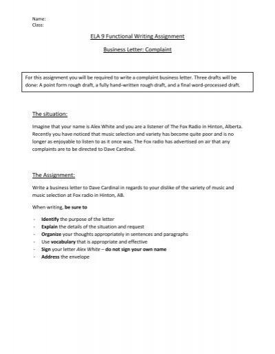Essay formal letter complaint bus service