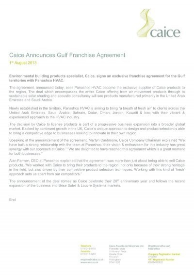 Press Release Caice Announces Gulf Franchise Agreement