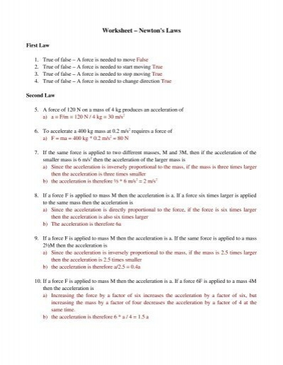 worksheet newton 39 s laws physics. Black Bedroom Furniture Sets. Home Design Ideas