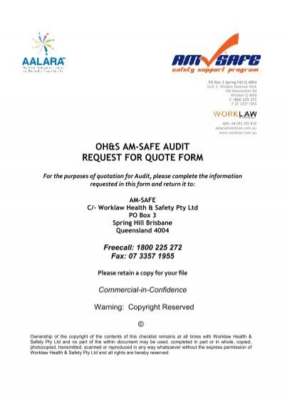 OhS AmSafe Audit Request For Quote Form  Aalara