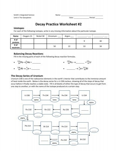 decay series worksheet free worksheets library download and print worksheets free on comprar. Black Bedroom Furniture Sets. Home Design Ideas
