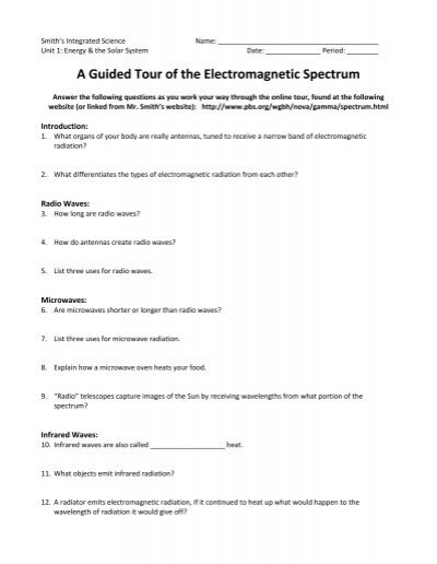 A Guided Tour Of The Electromagnetic Spectrum Arapahoe High