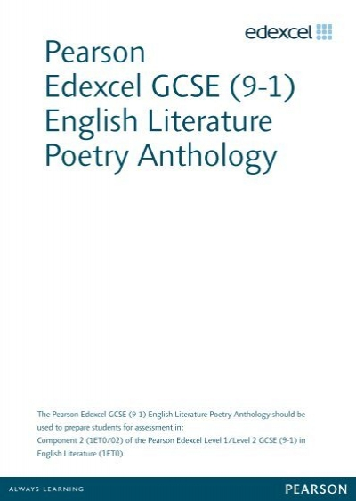 edexcel gcse english literature poetry anthology past papers Edexcel igcse english literature student book (edexcel international gcse) [pam taylor] on amazoncom free shipping on qualifying offers written by pam taylor, a highly experienced teacher and examiner.