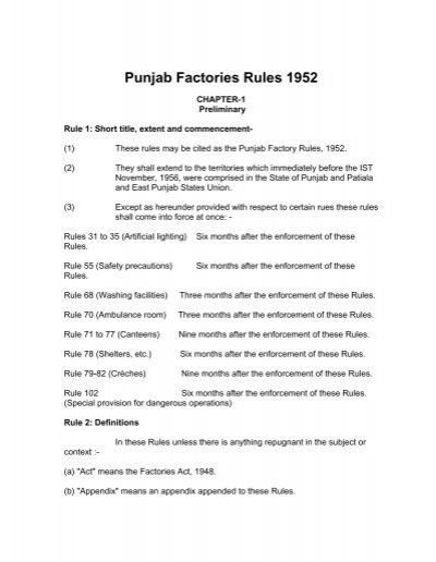 Punjab Factories Rules 1952 Department of Labour