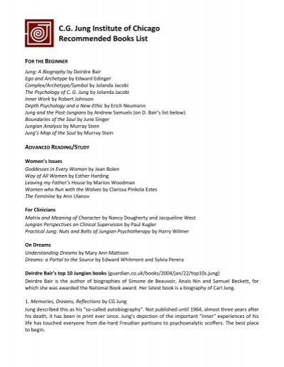 Cg Jung Institute Of Chicago Recommended Books List