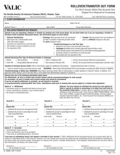 rolloVer/tranSfer oUt form - Human Resources