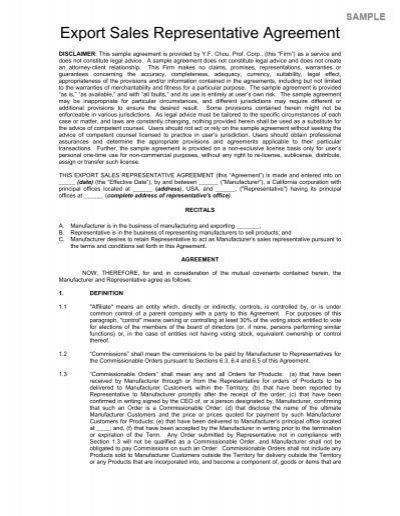 Doc578716 Export Agreement Sample Doc578716 Export Agreement – Export Contract