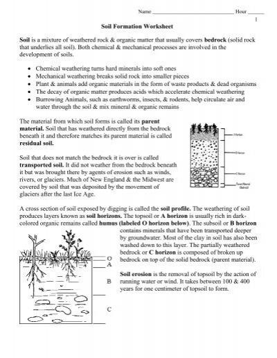 Worksheets Soil Formation Worksheet soil formation worksheet pdf envgeology
