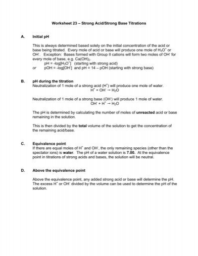 Worksheet 23 A Strong Acid Strong Base Titrations A