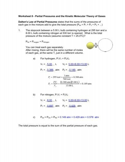 Worksheet 8 Partial Pressures And The Kinetic Molecular