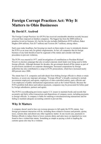 Foreign Corrupt Practices Act Why It Matters To Ohio Businesses