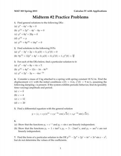 practice problems midterm 1 Algebra 1 test practice welcome to mcdougal littell's test practice site this site offers multiple interactive quizzes and tests to improve your test-taking skills.
