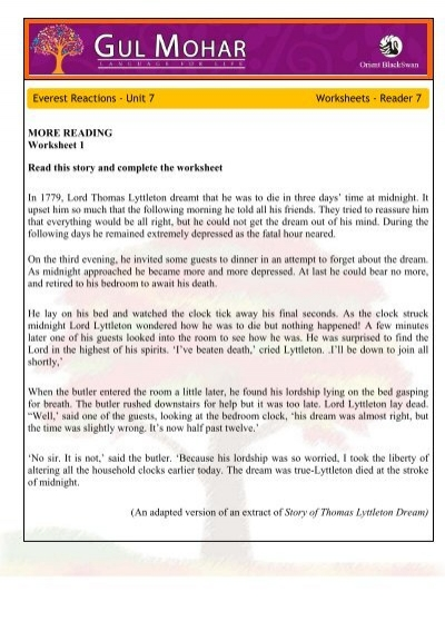 MORE READING Worksheet 1 Read this story and complete the ...