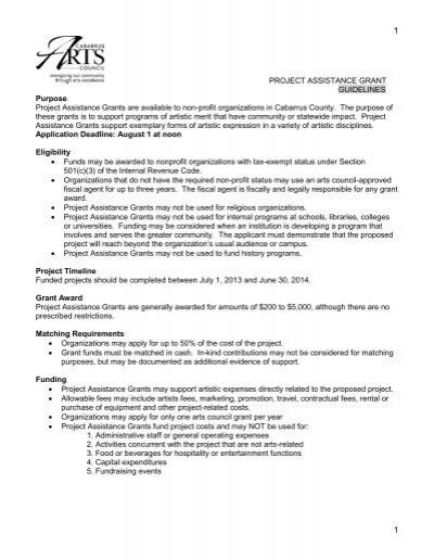 Project Assistance Grants - Cabarrus Arts Council