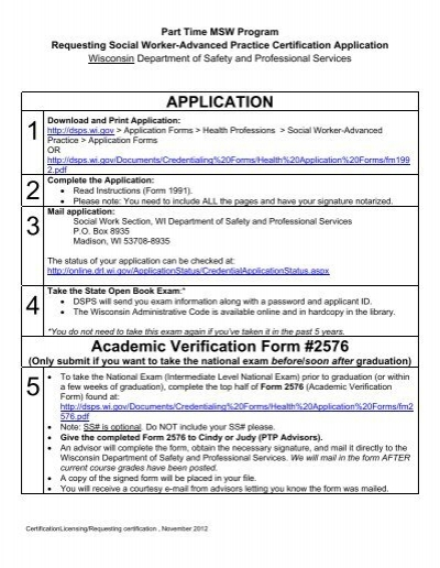How to Request a Wisconsin Social Work Certification Application