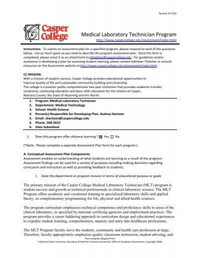 Medical Laboratory Technician Program - Casper College