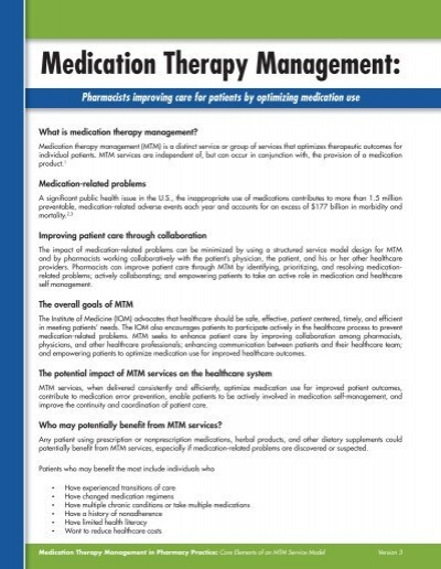 medication therapy management essay St catherine university university of st thomas master of social work clinical research papers school of social work 5-2012 medication therapy management: the perspective.