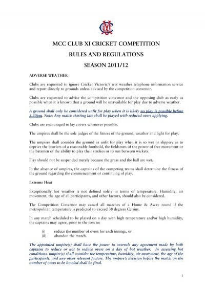 mcc club xi cricket competition rules and regulations ...