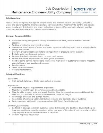 Maintenance Engineer Job Description Logo Hereyour Company Name Ie