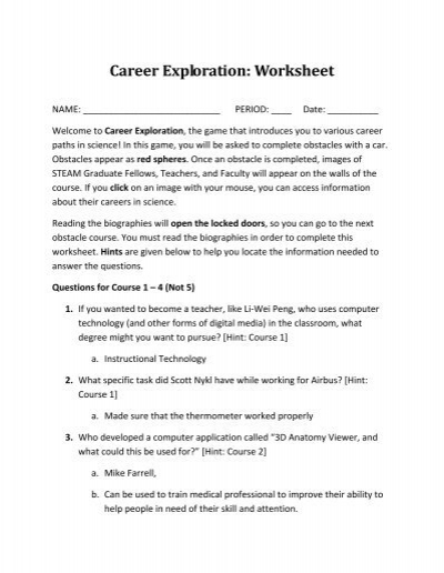 Printables Career Exploration Worksheets For Highschool Students career exploration worksheet templates and worksheets davezan
