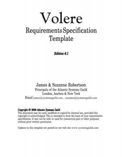 volere template free download - volere requirements specification template