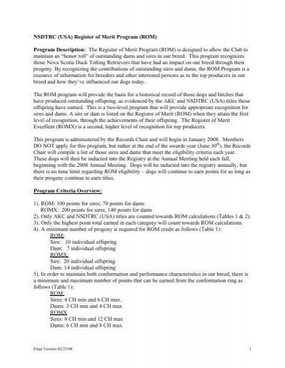 NSDTRC (USA) Register of Merit Program (ROM) Program
