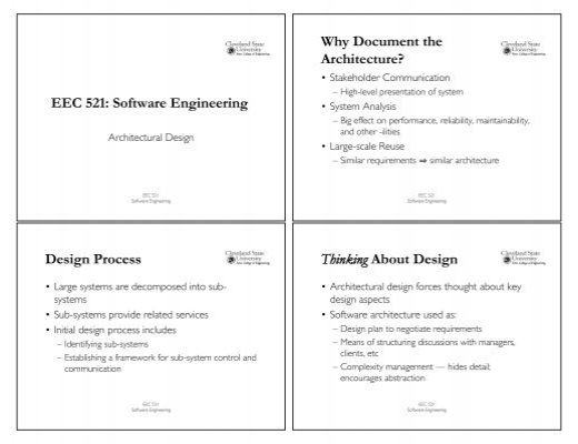 Eec 521 Software Engineering Design Process Why Document The