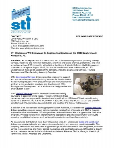 STI Electronics Will Showcase Its Engineering Services