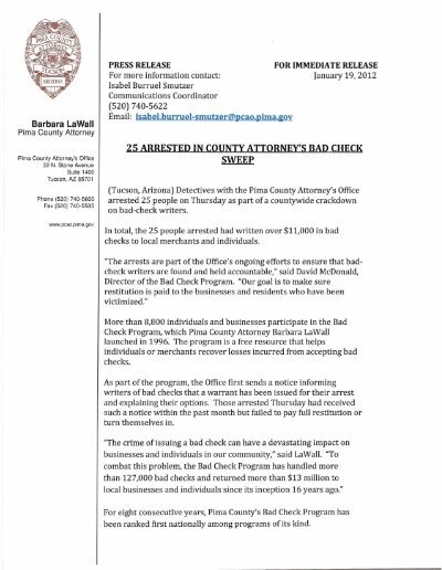 25 arrested in county attorney's bad check sweep - Pima