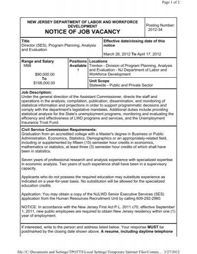 NOTICE OF JOB VACANCY