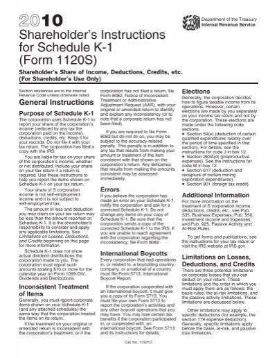 2010 Instruction 1120 S Schedule K 1 Internal Revenue Service