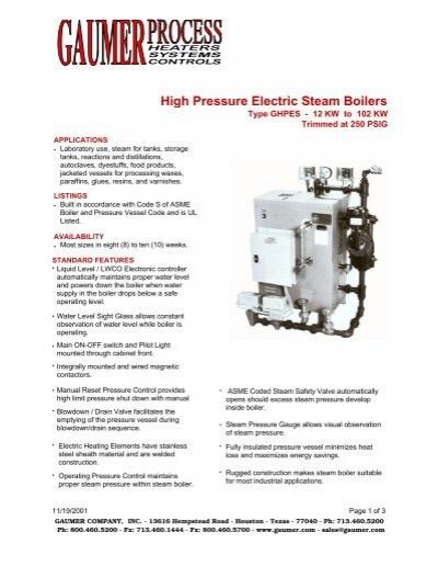 Gaumer High Pressure Electric Steam Boilers - Type GHPES