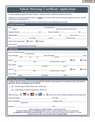 Yukon Marriage Certificate Application - VitalCertificates.ca