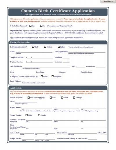 Ontario Birth Certificate Application - VitalCertificates.ca