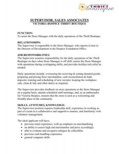 Store Supervisor Job Description - Victoria Hospice