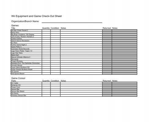 equipment check out sheet