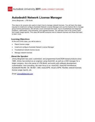 CM3943 - Autodesk® Network License Manager pdf - JTB World