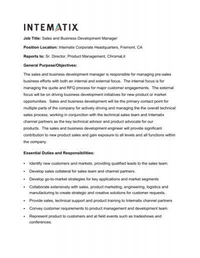 Business Development Manager Job Description Wilson Mohr – Business Development Manager Job Description