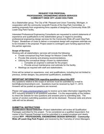 request for proposals dog park design union township