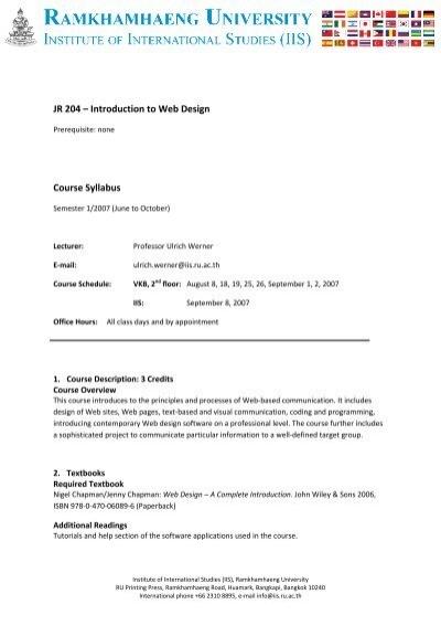 Jr 204 Introduction To Web Design Course Syllabus