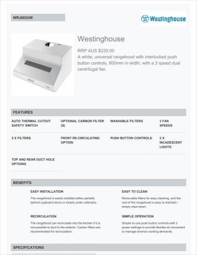 Westinghouse 60cm WRJ603UW Fixed Rangehood Technical .  sc 1 st  Yumpu & Westinghouse 90cm WRG950CGS Glass Canopy Rangehood ...