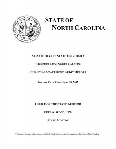 2012 audited financial statement elizabeth city state for 2012 bpc financial template