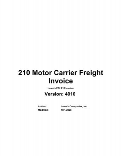 210 motor carrier freight details and invoice loweslink for Motor carrier service inc