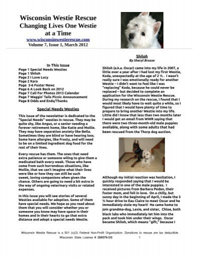 NewsLetter #18 2012 March - Wisconsin Westie Rescue