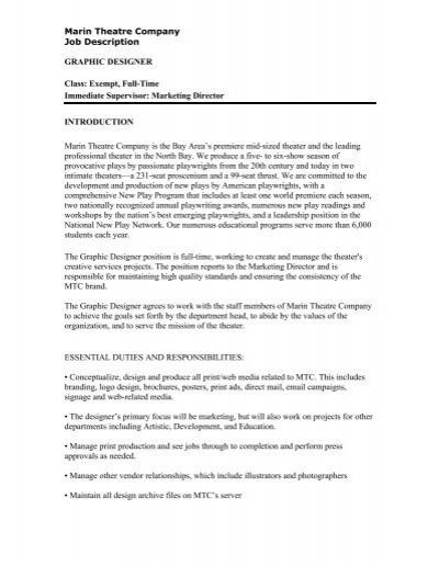 Graphic Designer Job Description Abbey Theatre – Graphic Design Job Description