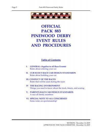 Pinewood Derby Rules ~ Pinewood derby rules final  cub scout pack