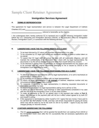 Sample Client Retainer Agreement - Catholic Legal Immigration