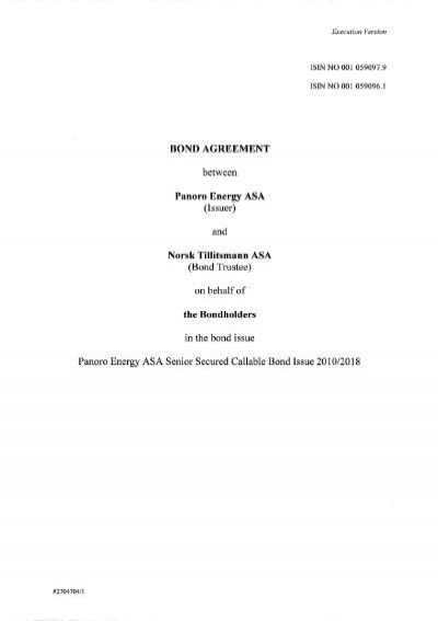Bond Agreement Between Panoro Energy Asa Issuer And