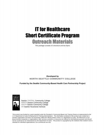 it for healthcare short certificate program outreach materials