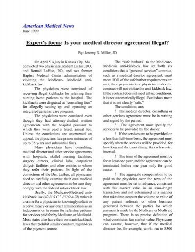 Is Your Medical Director Agreement Illegal Miller Health Law Group